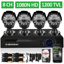 DEFEWAY 8 Channel 1080N DVR 1200TVL 720P HD Outdoor Security Camera font b System b font