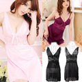 Only 3 piece 2016 NEW Sexy Girl Nightgown Sleepwear Dress T-back Babydoll Lacework Satin Set