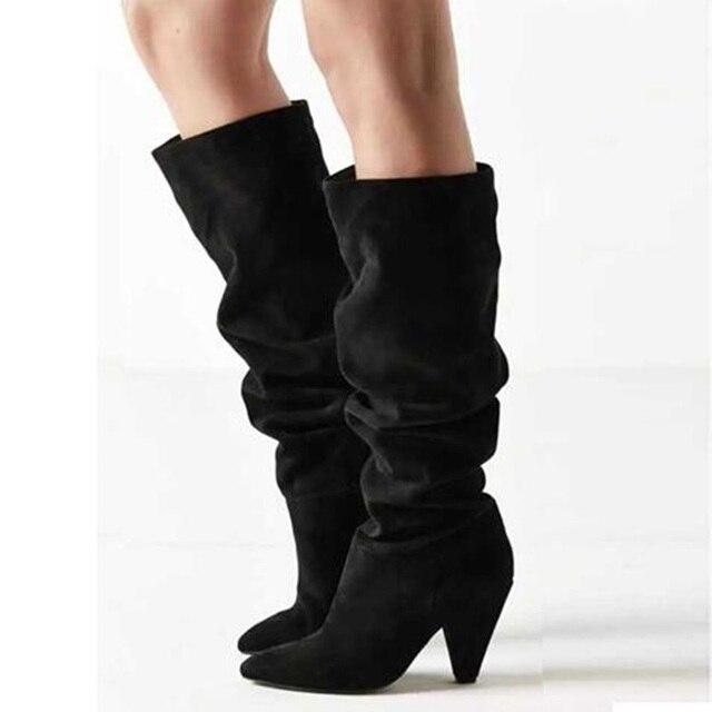sélection premium 4c085 e01ef Moins cher 2019 printemps femmes bottes longues plissées ...