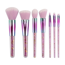 7Pcs Pink Crystal Diamond Handl Makeup Brush Set EyeShadow Flawless Concealer Crease Eyebrow Foundation Brushes Face Tools