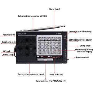 Image 3 - TECSUN R 911 Radio AM/ FM / SM (11 bandas) Receptor de transmisión de bandas múltiples con altavoz incorporado negro y azul barato y ligero
