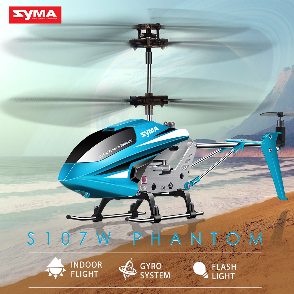 SYMA Official S107W 3.5CH Indoor RC Helicopter Aluminium Alloy Shatterproof Remote Control Aircraft for Children Toys For Boys