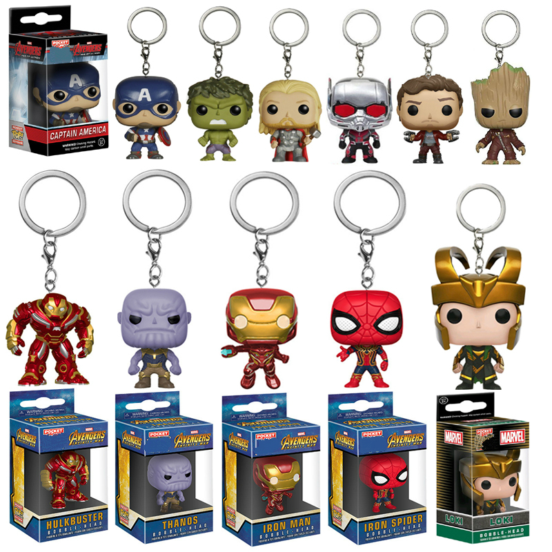 FUNKO POP Avengers Infinity War Hulk Iron Man Spiderman Thanos Captain America Ant Thor Loki Grooted Action Figures Keychain Toy
