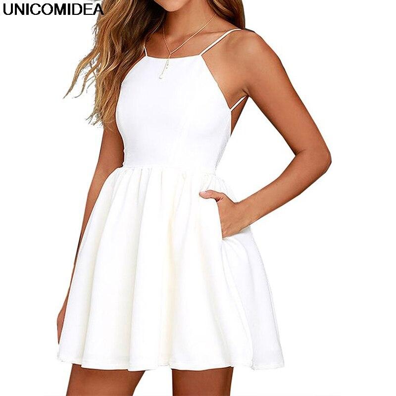 Առանց սպագետտի ժապավեն Սեքսուալ ամառային զգեստ Անթև զարդարանք երեկոյան զգեստներ Ամառային լողափ անփույթ կարճ բարակ կարճ մինի զգեստ կանայք Vestidos
