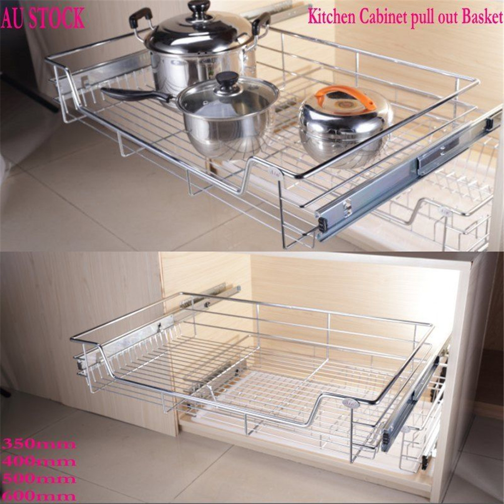 1pc Kitchen Organizer Pull Out Sliding Metal Basket Drawer Storage