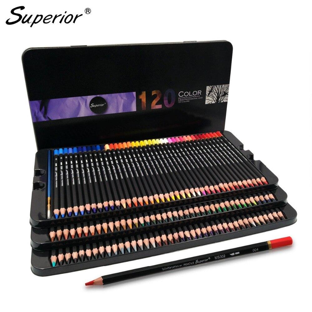 Artista 120 Matite Colorate lapis de cor Professionale aquarela colores 120 Acquerello Matite per la Scuola di Arte del chiodo Forniture