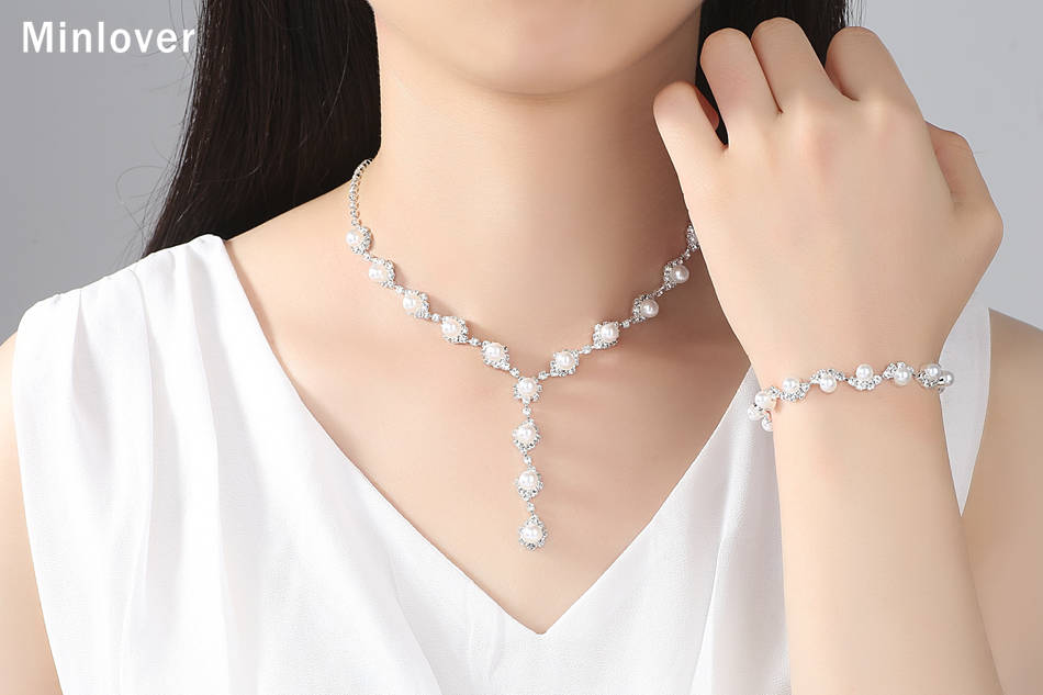 Minlover Floral Simulated Pearl Bride Wedding Jewelry Sets Simple Crystal Necklace Earrings Bracelets Sets for Women TL059+SL077 7