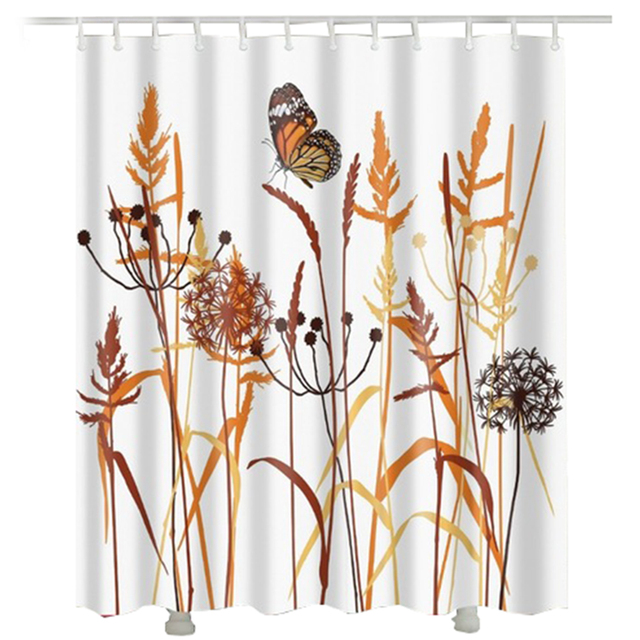 Rice Spike Shower Curtain New Design Golden Dandelion Bathroom Printed Butterfly