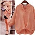 2016 Новые Моды для Женщин Блузки Европейский Стиль Лето Повседневная Рубашка Женщины Плюс Размер Свободные Блузки Горячие 4 Цветов S-2XL