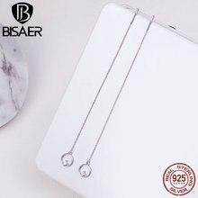BISAER, подлинные, 925 пробы, серебряные, круглые, висячие, простые, длинные серьги для женщин, модные, висячие серьги, ювелирные изделия, Brincos ECE080
