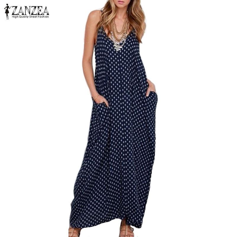 2017 Новый ZANZEA Лето Dress Fashion Women Dress Без Бретелек Горошек Свободные Пляж Длиной Макси Dress Vintage Vestidos Плюс Размер