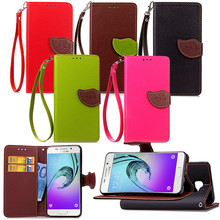 Elegant Leaf Design PU leather Wallet Case For Samsung GALAXY A5 2016 Wallet Card Holder stand Flip Mobile Phone Bags cover