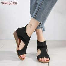 ALL YIXIE 2019 Fashion Black Wedge with Womens Sandals Summer Mesh Open Toe High Heel Ladies Shoes Mujer Sandal