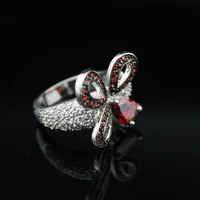 Unique special farfalla rosso rotondo e il cuore cz donne eleganti anelli di nozze d'argento anello cubic zirconia girl friend regalo anelli