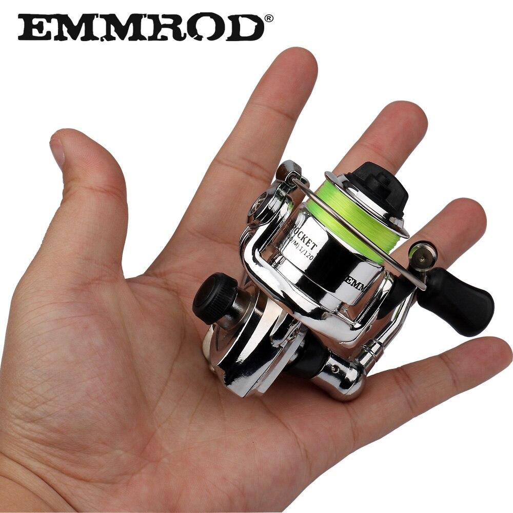 EMMROD caliente Mini100 bolsillo carrete de pesca de aparejos de pesca pequeño carrete giratorio 4,3: 1 de la rueda de Metal pesca pequeño carrete