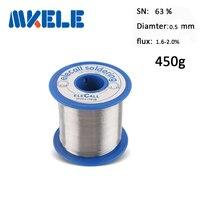 Alambre de soldadura 63/37 de Estaño 0.5mm 450g plomo estaño de soldadura de alambre de aluminio de plata mini soldador