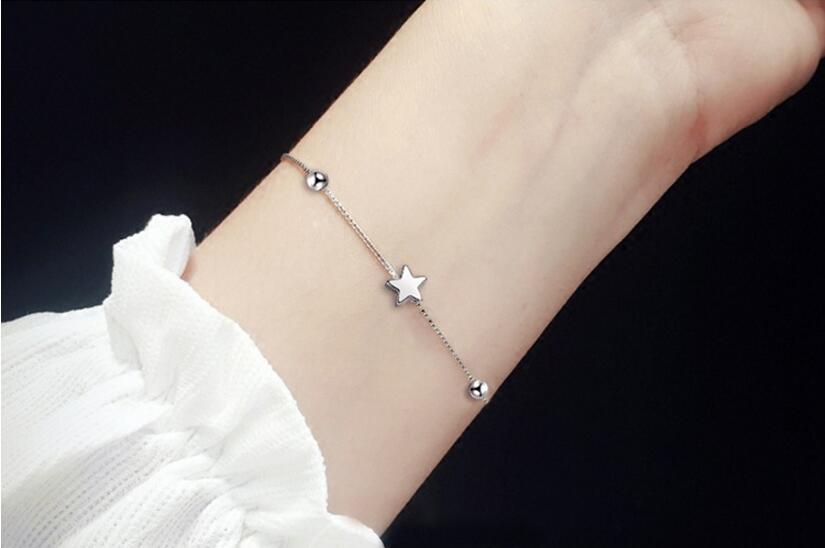 Anenjery Simple Fashion 925 Sterling Silver Bracelets Square Star Beads Box Chian Bracelets & Bangles For Women pulseira S-B92 10