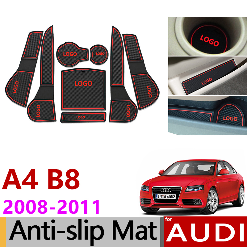 Anti-Slip Rubber Gate Slot Cup Mat for Audi A4 B8 2008 2009 2010 2011 A4 8K RS4 S4 S line RS 4 Interior Accessories Car Styling