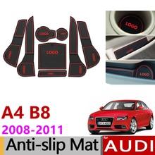 Противоскользящие резиновые слот ворота чашка коврик для Audi A4 B8 2008 2009 2010 2011 A4 8 К RS4 s4 S линию RS 4 салона стайлинга автомобилей
