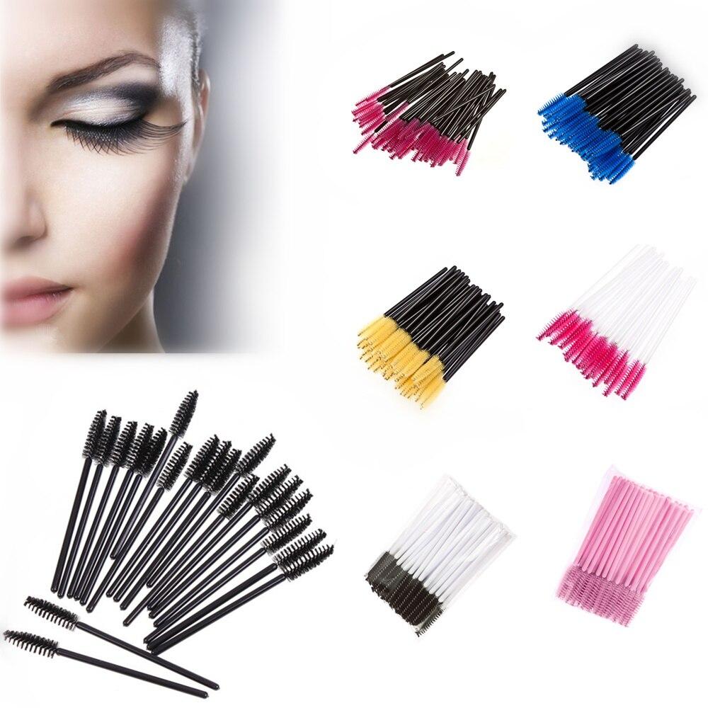 Brand 100Pcs Disposable Eyelash Brush Mascara Wands Applicator Eye Lashes Cosmetic Brushes Makeup Tool Multicolor tecna cosmetic makeup eyelash lengthen curler mascara black