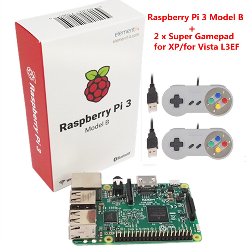 цена на Original Raspberry pi / Raspberry pi3 with Wifi & Bluetoothal Element14 Raspberry Pi 3 Model B +2 x Raspberry PI USB Gamepad