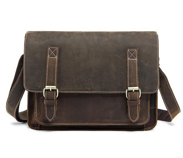 Leather bag shoulder bag male inclined shoulder bag