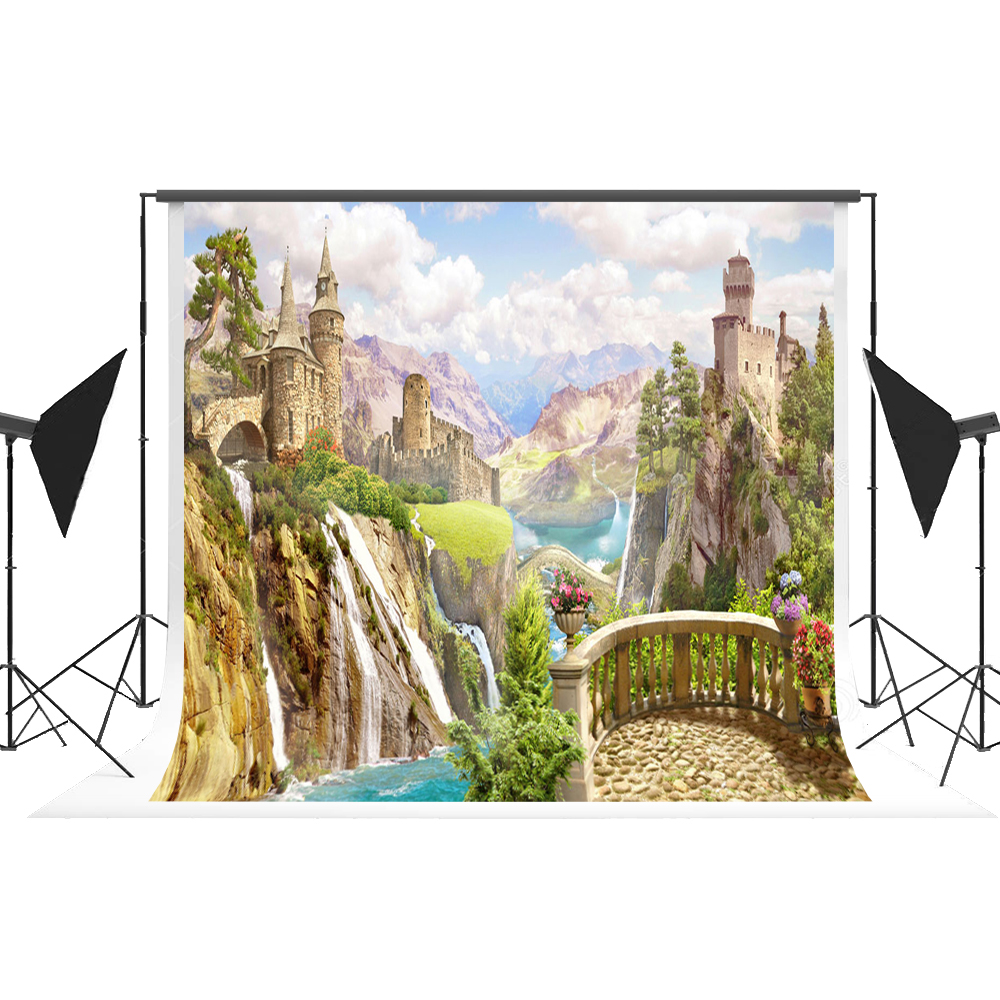 Kate Blue Sky White Clouds Photography Backdrops Fairy Tale Backgrounds Mountain Fond For Photo Sessions Cartoon Castle Backdrop спальный мешок blue mountain b031 3