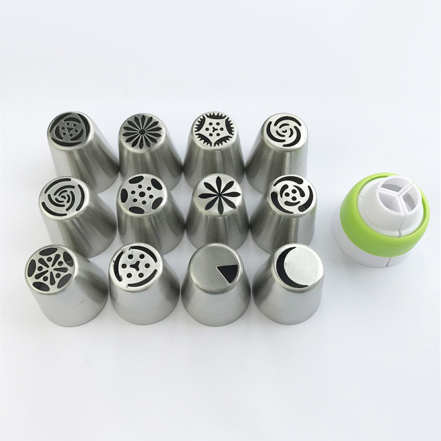 New 12Pcs/14Pcs Set Russian Big Tulip Icing Piping Nozzles Pastry bags converter Cream Pastry Tips Nozzles Cake Decorating Tools