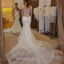 kejiadian Mermaid Wedding Dress Sleeveless Chapel Train