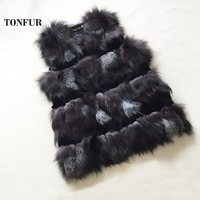 Classical Design Genuine Rabbit Fur Vest Women Real Fox Fur Gilet Natural Fur Waistcoat TSR167