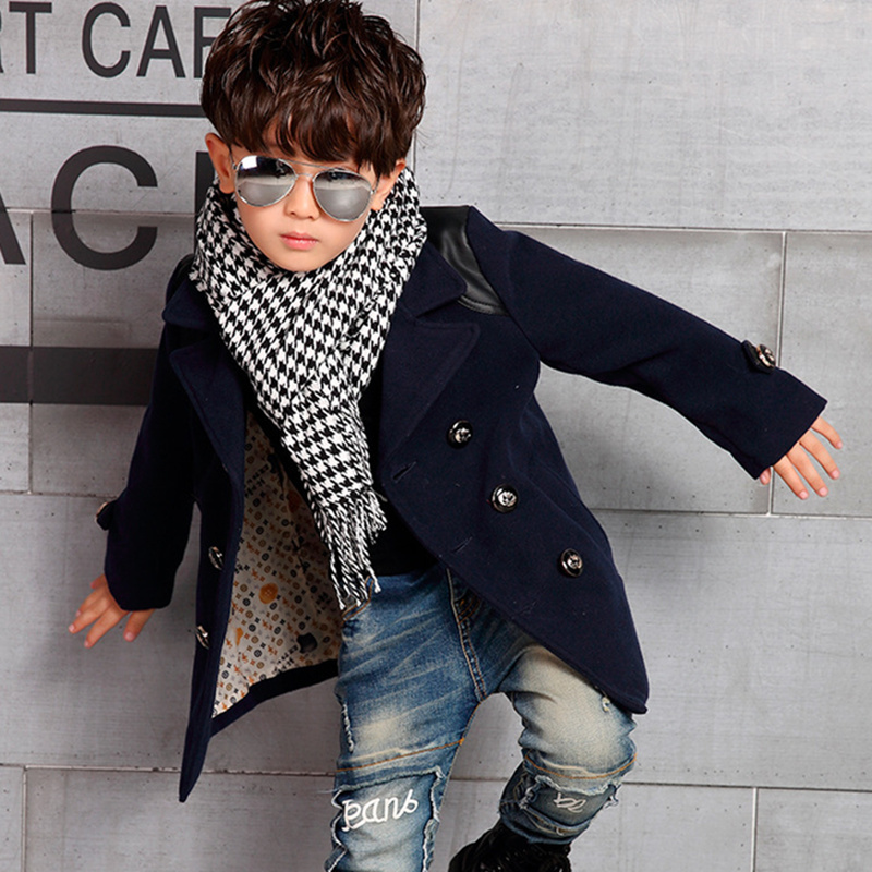 f07961afa 2016 Winter High Quality Kid Boy Designer Coat Children's Jacket Boys  Trench Coat Outerwear & Coats Wool & Blends Warm Clothes