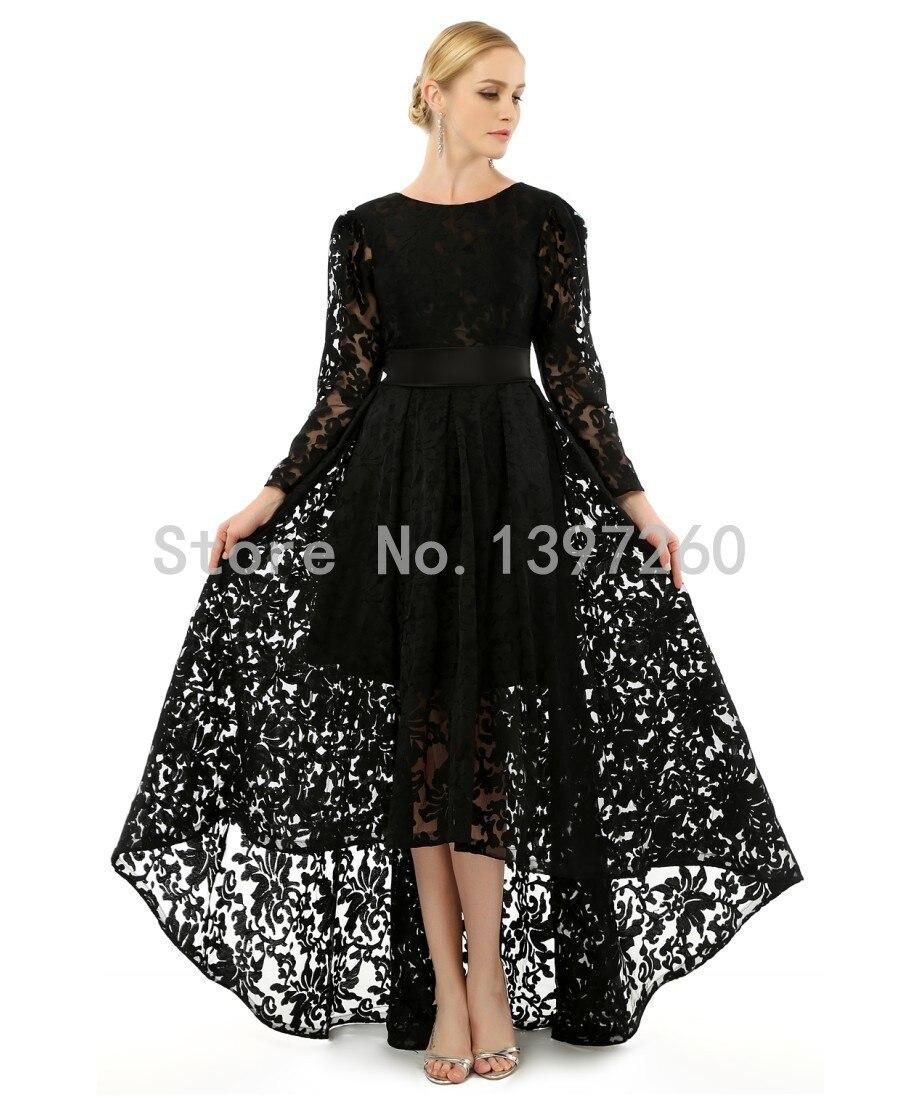 Black Long Sleeve Floor Length Dress