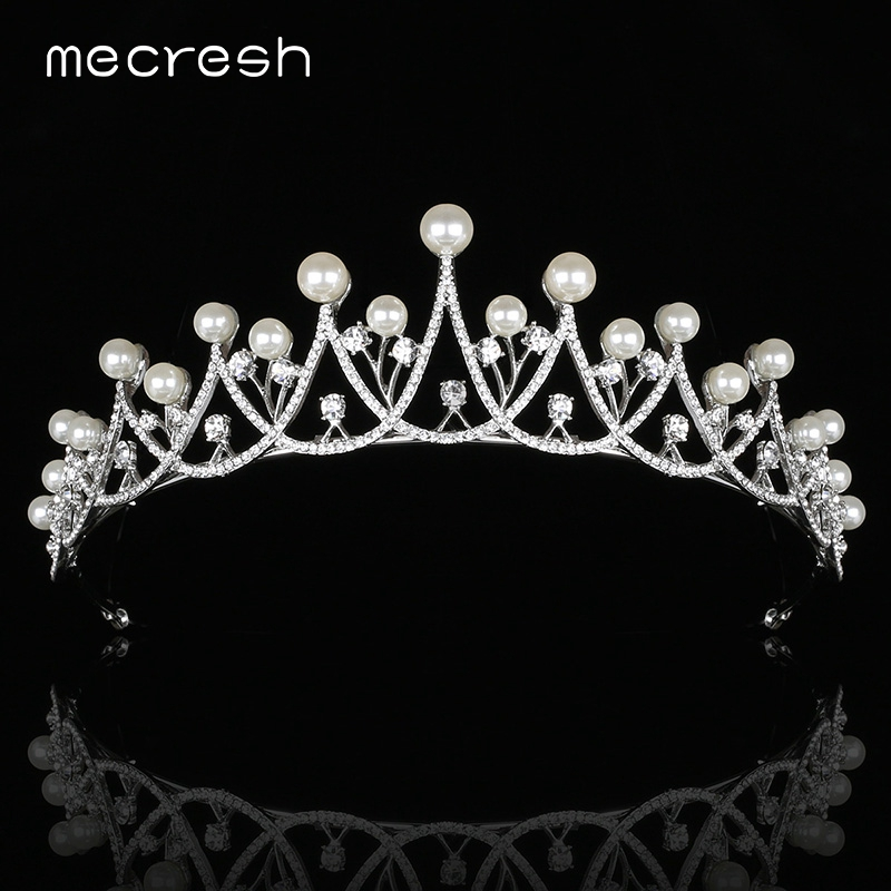 Mecresh Classic Simulated Pearl Bridal Tiaras and Crowns Hair Jewelry Crystal Flower Princess Wedding Hair Accessories MHG119