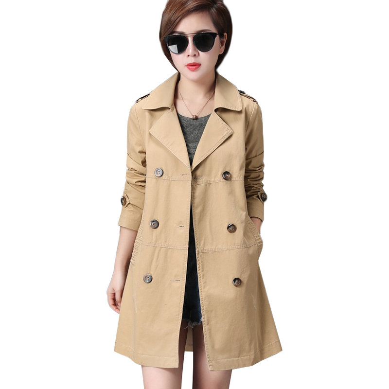 Women Windbreaker 2017 New Loose Double Breasted Coat Medium-Long Outwear Plus size 3XL Long-sleeved Cotton   Trench   Coat Female