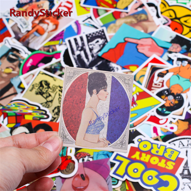 Fashion Mixed 50 Pcs For Kids Home Decor On Laptop Sticker Decal Fridge Skateboard Cute Doodle Sticker Toy Stickers