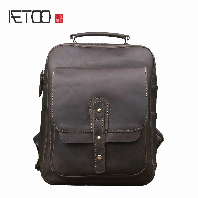 AETOO Retro Crazy Horse men leisure backpack backpack  leather leather female computer package travel trends aetoo retro backpack men and women leather backpack leisure bag bags travel computer bags