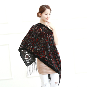 Image 4 - Limit Quantity ! Black Cashew Velvet Women Scarf Winter Evening Party Poncho Soft Burnout Shawl Gift For Lovers