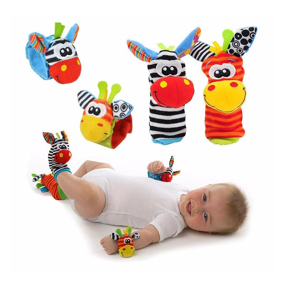 Мягкие детские игрушки с рисунками животных для детей 0-12 месяцев, детские погремушки, детские плюшевые носки для новорожденных, детские игр...