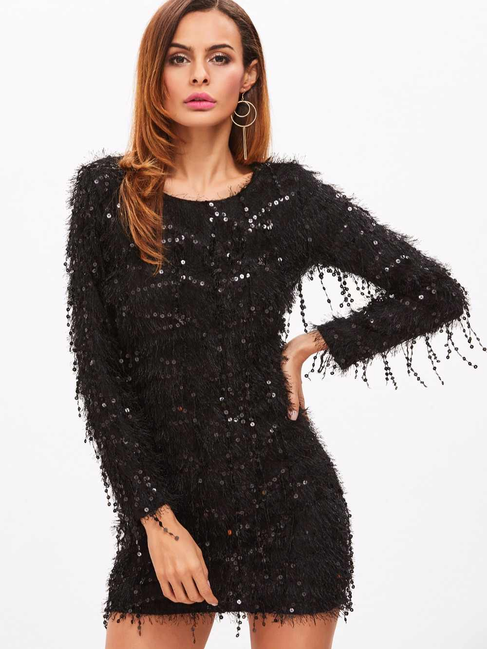 3650eba480d7 Detail Feedback Questions about Winter Black Party Dress Long Sleeve ...