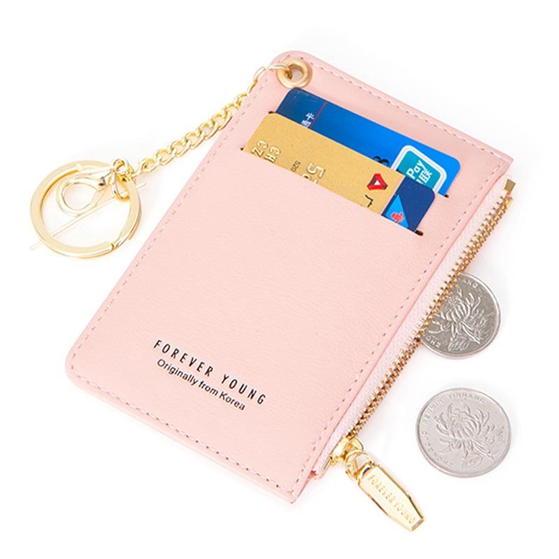Weichen Mini Karte Halter Frauen Weiche Leder Schlüssel Kette Tasche Kleine Karte Brieftaschen Weibliche Mini Kreditkarte Fall Zipper Münze Taschen Card & Id Halter Gepäck & Taschen