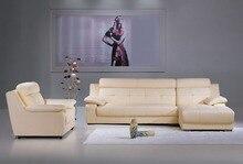 Vaca genuino / real sofás de cuero salón sofá seccional / sofá de la esquina de muebles para el hogar sofá / sofá setional en forma de L + silla
