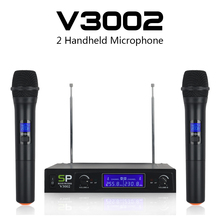 SP V3002 VHF Wireless Microphone System with 2 Hand-Held mic Dual way channel for wedding, Conference, Karaoke,Music,Party takstar ts 331a vhf wireless microphone vhf wireless system for live performances conference musical and opera