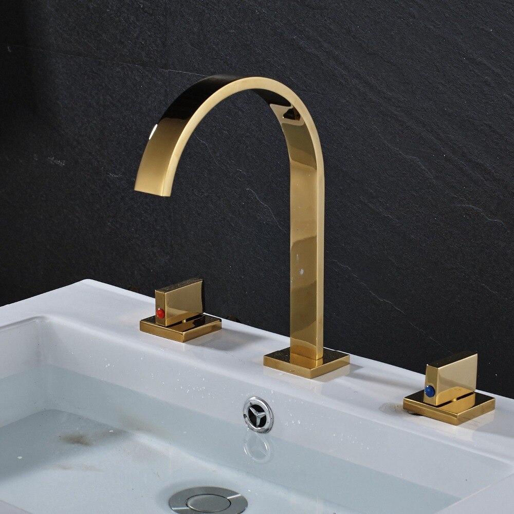 Golden Deck Mount Widespread Bathroom Sink Mixer Faucet Double Handles Basin Faucet deck mount 3pcs bathroom basin sink faucet rose gold finish double handles mixer faucet