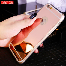 THREE-DIAO Luxury Mirror Soft TPU Silicon Phone Cases for Apple iPhone X 5 5S 5SE 6 6S 7 8 Plus Case Back Cover Coque(China)