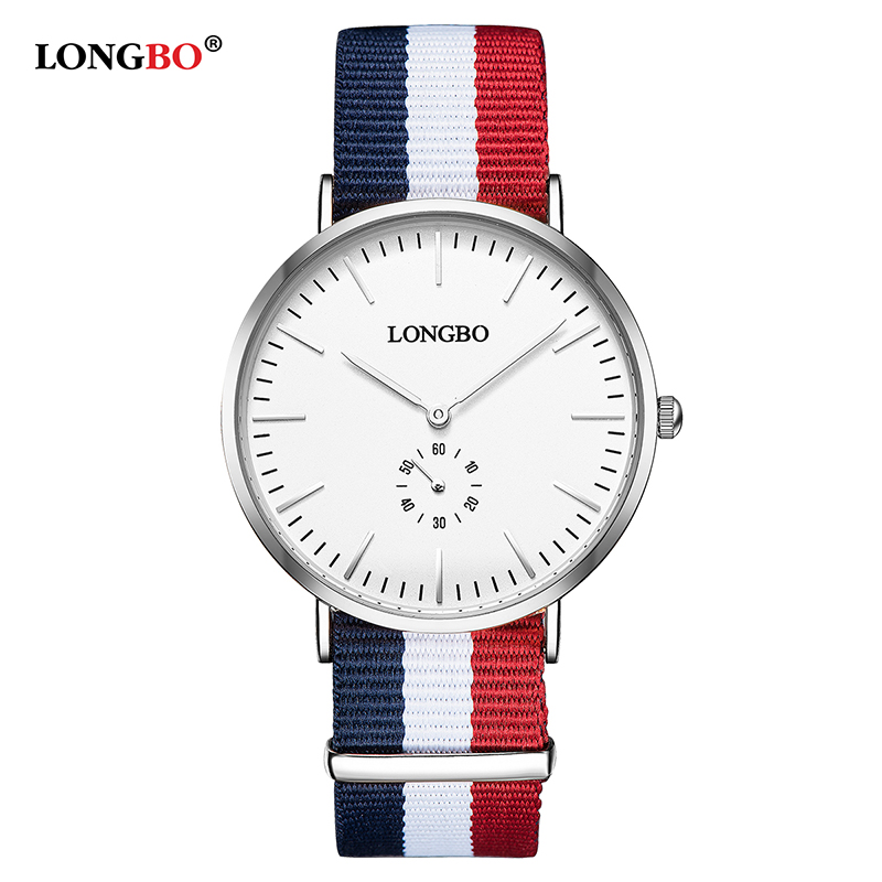 LONGBO Brand Fashion Lovers Watch For Men 41mm Dial Simple NATO Nylon Braided Waterproof Unisex Quartz Wrist Watches Women 80255 longbo simple square dial lovers quartz watch casual fashion steel strap watches men women couple watch sports analog wristwatch
