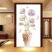 цены на New 5D wall sticker HD Tulip vase PVC removable waterproof DIY stickers TV backdrop decorative painting creative wallpaper  в интернет-магазинах