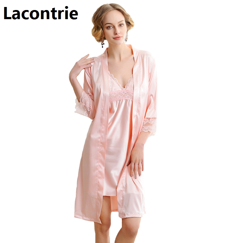 Lacontrie 2018 Spring Summer Sexy Backless Nightgrown For Women Pajamas Sets Fashion Straps Nightdress+Soft Robes 2pcs Sets N008