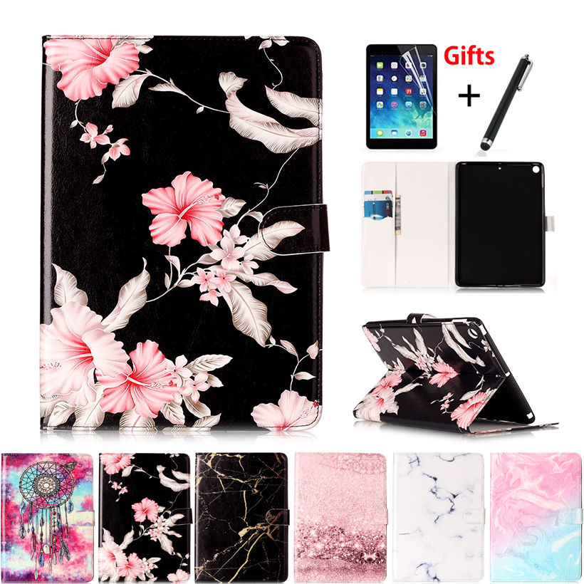 Marble Pattern Case Cover For Apple New iPad 9.7 2017 2018 5th 6th Generation A 1954 Funda Tablet Stand Skin Shell +Pen+film