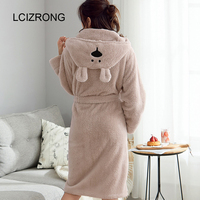 Winter Cute Warm Bathrobes Women Cartoon Bear Rabbit Knee Length Bath Robe Dressing Plus Size Soft Gown Bridesmaid Robes Female