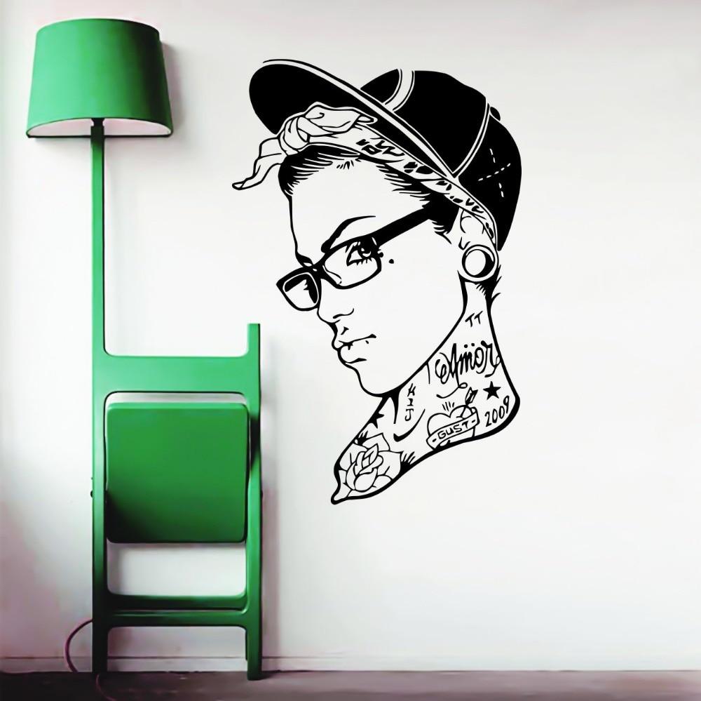 Femme dans le chapeau cool beau stickers muraux accueil salon creative spécial décoration vinyle stickers muraux papier peint vente chaude wm 281
